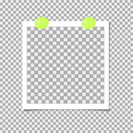 Photo frame with green pin. Template. Vector illustration