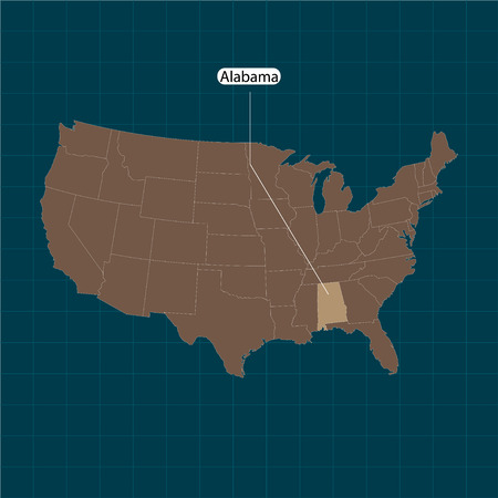 Alabama. States of America territory on dark background. Separate state. Vector illustration