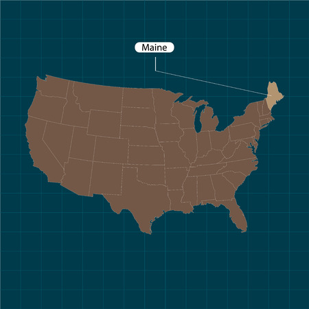 Maine. States of America territory on dark background. Separate state. Vector illustration  イラスト・ベクター素材
