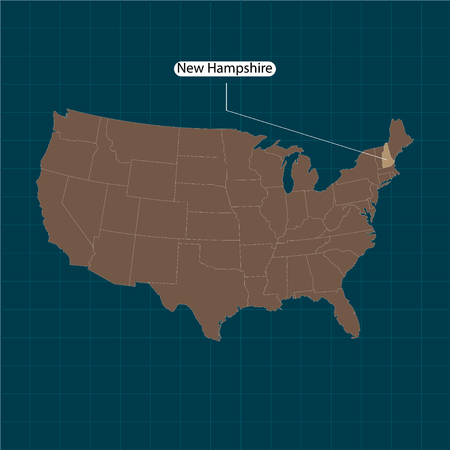 New Hampshire. States of America territory on dark background. Separate state. Vector illustration Vectores