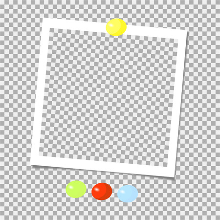 Collection of photo frame with color pins. Template. Vector illustration