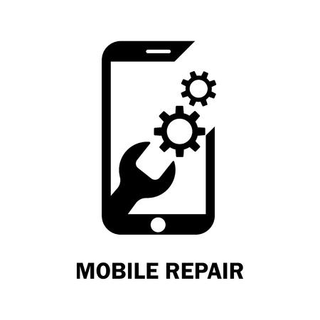 Repairing of mobile phone. Realistic modern mobile phone on white background. Vector illustration Illusztráció