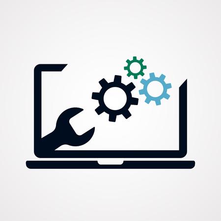 Modern blank of laptop, notebook on gray background. Laptop repair. Electronics industry. Vector illustration Illustration