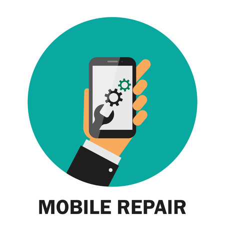 Realistic modern mobile phone on green background. Repairing of mobile phone. Cogwheel gear mechanism. Hand holding smart phone. Vector illustration