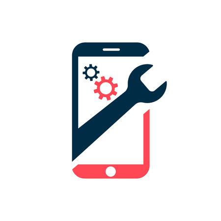 Repairing of mobile phone. Realistic modern mobile phone on white background. Vector illustration 向量圖像