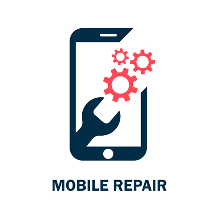 Repairing of mobile phone. Realistic modern mobile phone on white background. Vector illustration Vectores