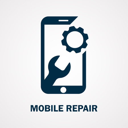 Repairing of mobile phone. Realistic modern mobile phone on white background. Vector illustration