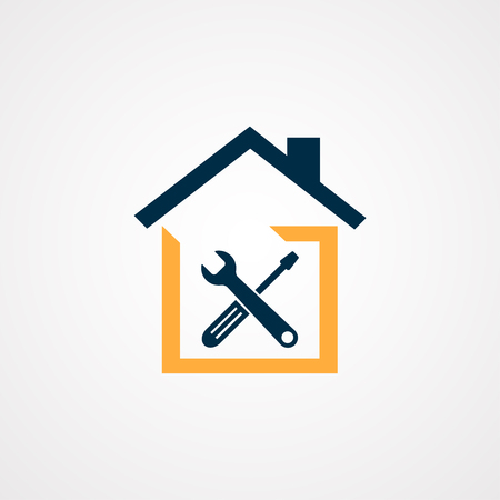 Toolkit. Toolbox. Wrench and screwdriver icon on gray background. Work tools. Repairing, service tools. Vector illustration