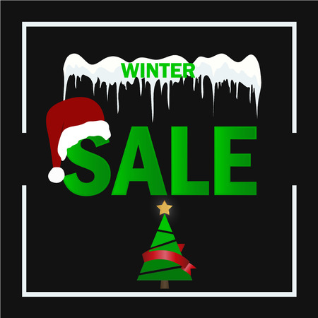 Winter sale. Merry Christmas and Happy New Year. 2019. Vector illustration Illustration