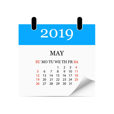 Monthly calendar 2019 with page curl. Tear-off calendar for May. White background. Vector illustration