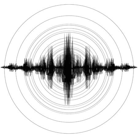 Terremoto. Escala de magnitud del terremoto de Richter. Ilustración vectorial