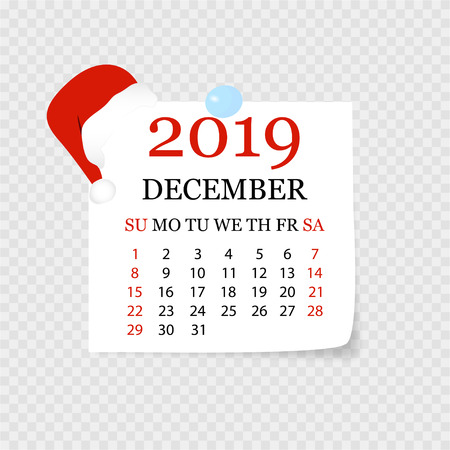 Monthly calendar 2019 with page curl. Tear-off calendar for December. White background. Vector illustration