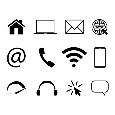 Collection of communication symbols. Contact, e-mail, mobile phone, message, wireless technology icons. Vector illustration Vettoriali