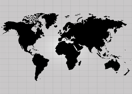 The Earth, World Map on gray background. Vector illustration