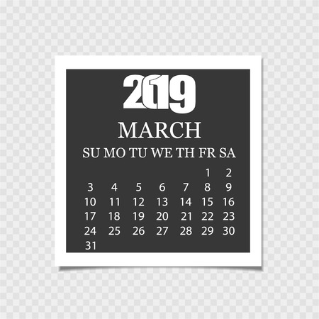 Calendar 2019. Tear-off calendar. Gray background. Vector illustration