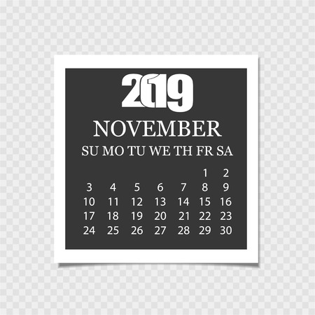Calendar 2019. Tear-off calendar. Gray background. Vector illustration