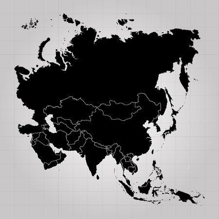 Territory of Europe, Asia, Eurasia with separate countries. Gray background. Vector illustration
