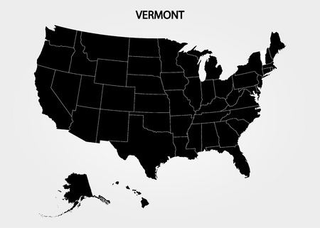 Vermont. States of America territory on gray background. Separate state. Vector illustration