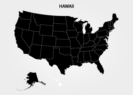 Hawaii Islands. States of America territory on gray background. Separate state. Vector illustration