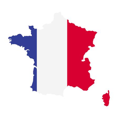 Territorium von Frankreich. Flagge von Frankreich. Weißer Hintergrund. Vektor-Illustration