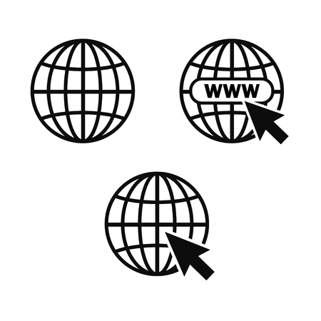 Internet icon. Internet symbol. Planet, planet earth, global. Wireless technology. Vector illustration