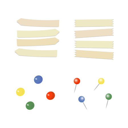 Stationary pin. Straight color pins. Thumbtack. Adhesive tape. Vector illustration
