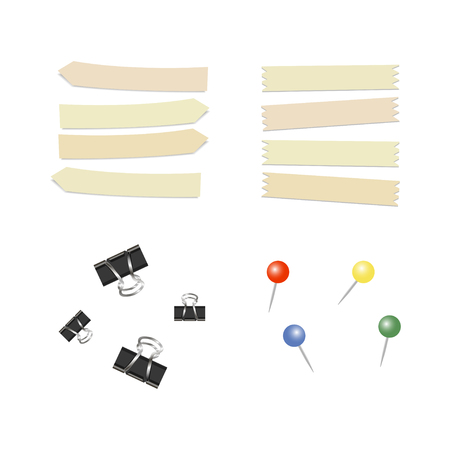 Stationary pin. Straight color pins. Thumbtack. Adhesive tape. Vector illustration 向量圖像