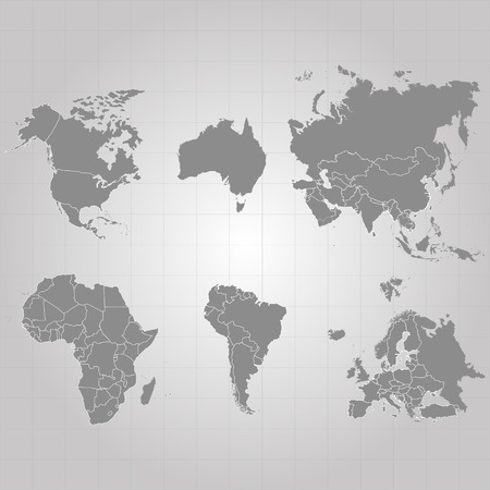 Territory of continents - USA, North America, South America, Africa, Europe, Asia, Eurasia, Australia. Gray background. Vector illustration