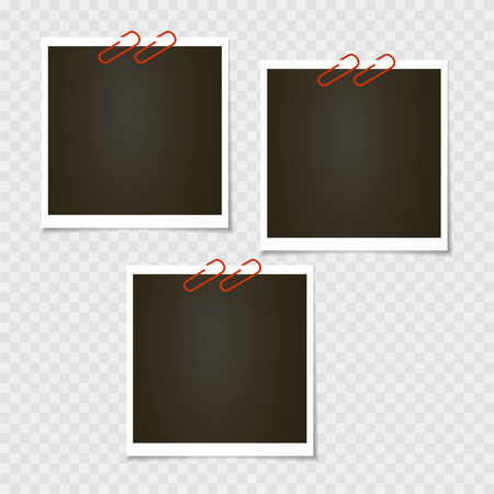 Photo frame. Polaroid frame, vector with pin, staple, paper clip. Photo frame.  Vector with pin, staple, paper clip. Template. Vector illustration. Vector illustration