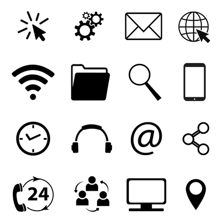 Collection of communication and business symbols. Contact, e-mail, mobile phone, message, wireless technology icons etc. Vector illustration