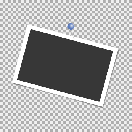Photo frame. Vector with pin, staple, paper clip. Template. Vector illustration