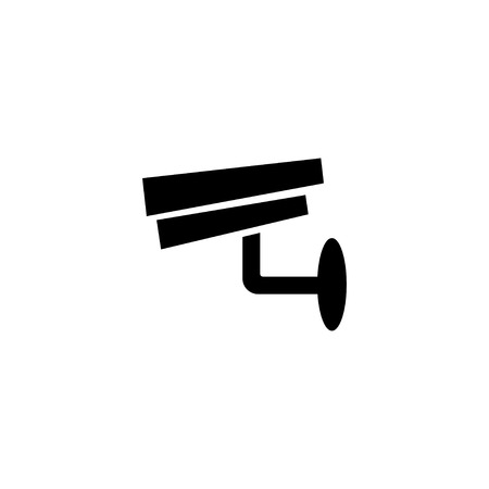 Surveillance camera. Security equipment and security guard. Vector illustration