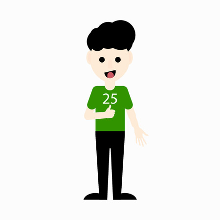 Cute cartoon boy in a green color T-shirt showing OK sign. Vector illustration