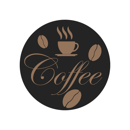 Coffee beans on dark background. Cup of coffee. Smell drink. Vector illustration 일러스트