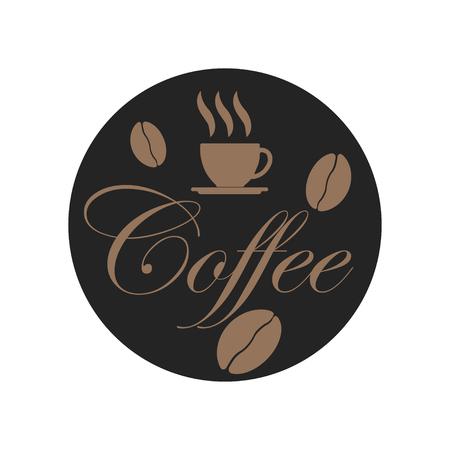 Coffee beans on dark background. Cup of coffee. Smell drink. Vector illustration Ilustração