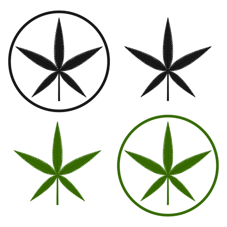 Green and black cannabis leaf on the white bakground. Herbal cannabis. Hemp leaf symbol. Vector illustration Illustration