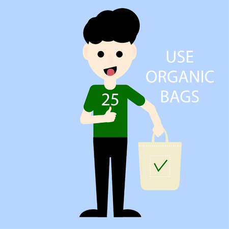 Eco activist holding organic bag. Environmental Protection. Say yes and use organic bags. Vector illustration