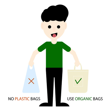 Eco activist holding plastic and organic bags. Environmental Protection. Say no to plastic bags and use organic bags. Vector illustration
