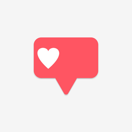 Red heart counter in social media on a gray background. Like button. Vector illustration