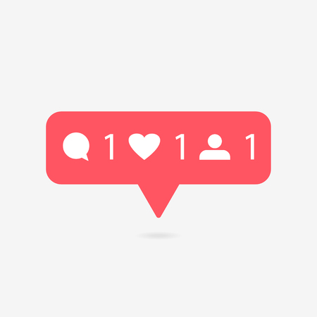 Red heart and speech buttons. Counter in social media on a gray background. Vector illustration