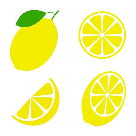 Limón fresco y jugoso con hojas verdes sobre fondo blanco. Ilustración vectorial
