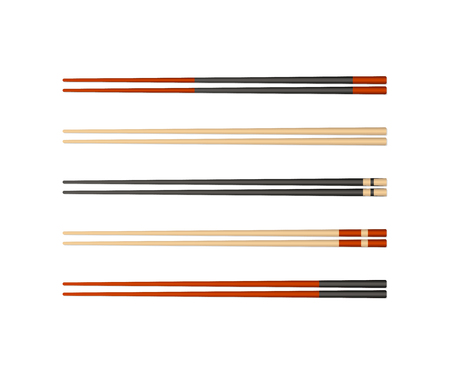 Bamboo chopsticks. Realistic 3d food chopsticks. Different types and colors. Asian bamboo utensils. Vector illustration Vectores