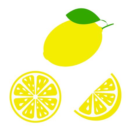 Limone fresco e succoso con foglia verde su sfondo bianco. Illustrazione vettoriale Vettoriali