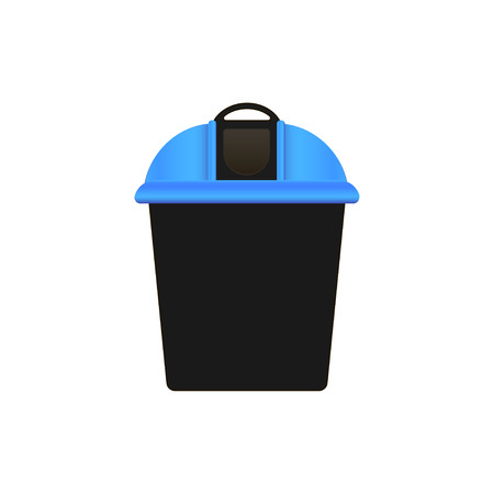 Plastic garbage bin with blue lid. White background. Vector illustration