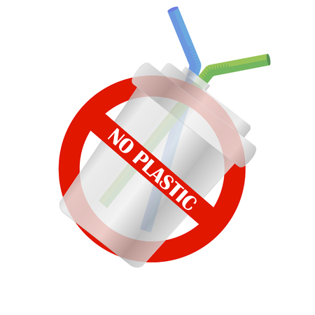 Disposable plastic cup. No plastic. Pollution problem. Environmental Protection. Say no to plastic products. Warning sign. Vector illustration