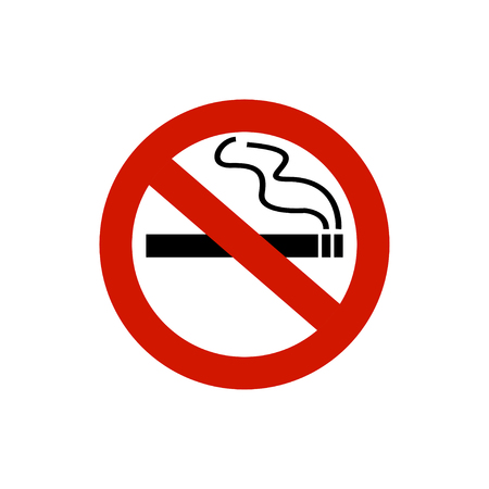 No smoking sign and area. Smoking ban. Warning sign of smoking. White background. Vector illustration Illustration