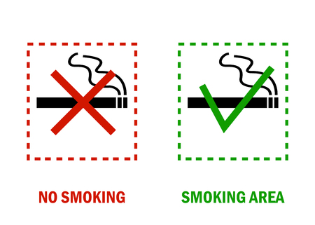 No smoking area and smoking area. Smoking ban and permission smoking sign. White background. Vector illustration