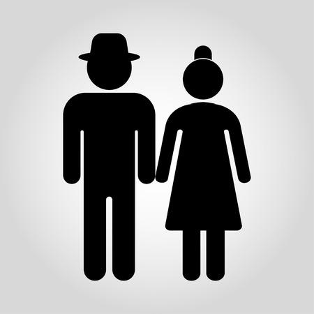Los pares mayores están caminando. Hombres y mujeres mayores. Ilustración vectorial