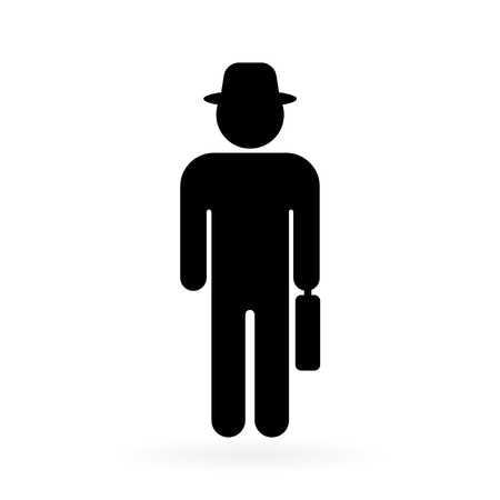 Senior men with suitcase. Elderly person on white background. Vector illustration