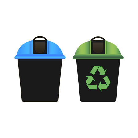 Recycling garbage bin with green lid. Recycling symbol. Garbage bin with blue lid. White background. Vector illustration Çizim